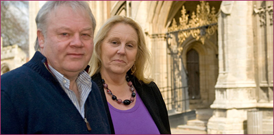 Graham & Caroline in front of Peterborough Cathedral